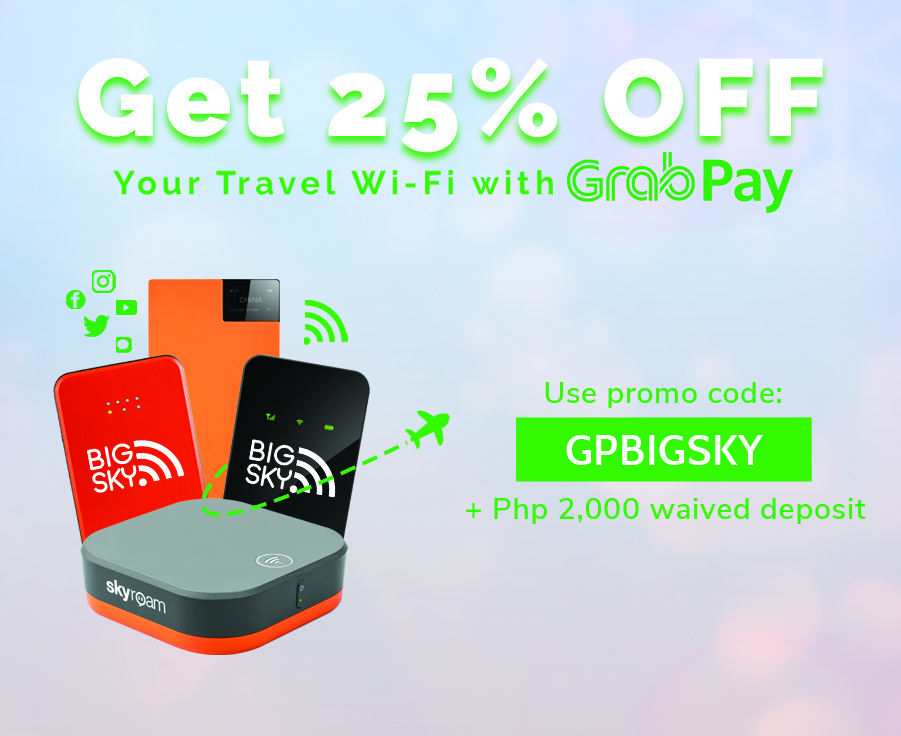 Get 25% Off Your Travel Wifi with GrabPay