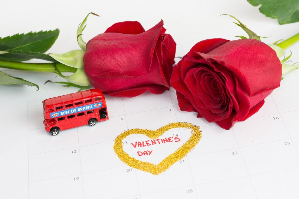 Calendar valentines day with roses and london bus