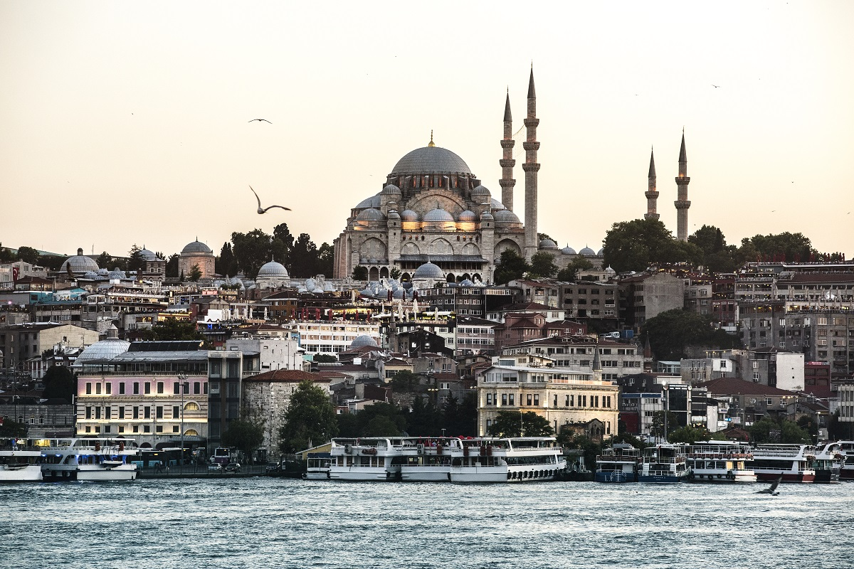 Istanbul's ocean with cruise ship
